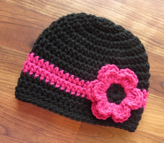 Crocheted Baby Girl Hat with Flower ~ Black & Dark Pink ~ Baby Shower Gift ~ Winter Hat ~ Photo Prop ~ Newborn to Teen Size ~ MADE TO ORDER