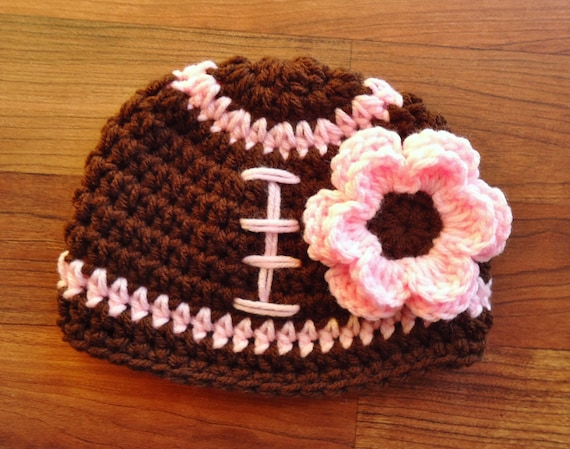 Crocheted Baby Girl Football Hat with Flower ~ Chocolate Brown & Baby Pink, Bubblegum Pink or White ~ Newborn to Teen Size ~ MADE TO ORDER