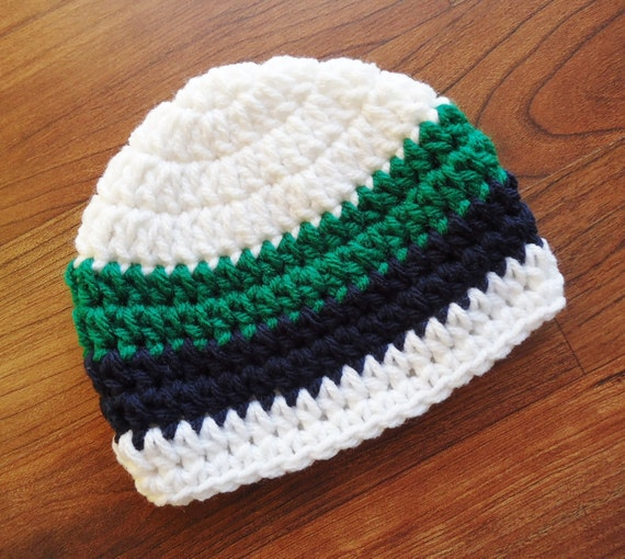 Crocheted Baby Boy Hat ~ White, Dark Navy Blue & Kelly Green ~ Baby Shower Gift ~ Photo Prop ~ Newborn to Teen Size ~ MADE TO ORDER