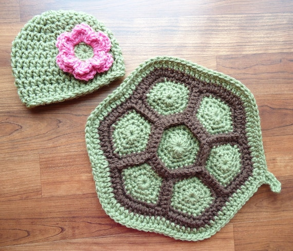 Crocheted Little Turtle Set with Flower ~ Baby Girl Newborn Photo Prop ~ Dusty Green & Cocoa Brown ~ Newborn Size Only ~ MADE TO ORDER