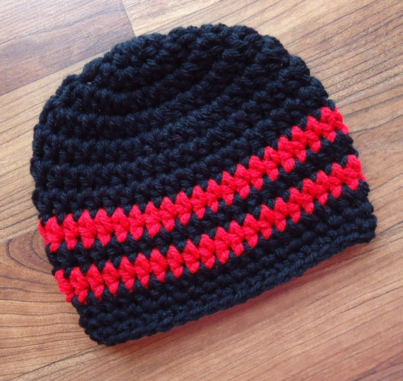 Crocheted Baby Boy Hat ~ Black & Red ~ Christmas Hat ~ Valentine Hat ~ Baby Shower Gift ~ Photo Prop ~ Newborn to Teen Size ~ MADE TO ORDER