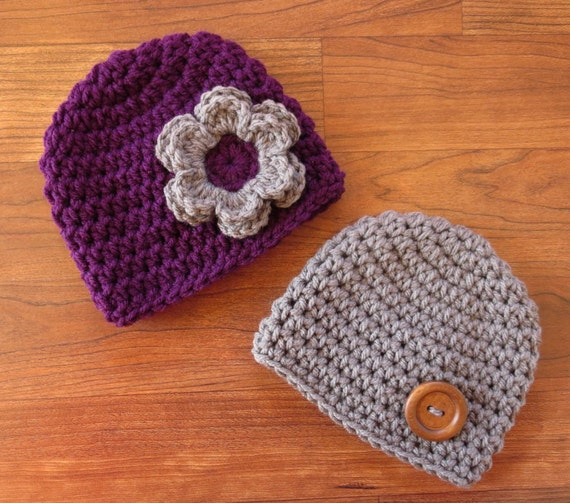 Crocheted Baby Boy/Girl Twin Hat Set ~ Plum Purple with Flower & Pewter Gray with Wooden Button Hats ~ Newborn to 5T ~ MADE TO ORDER
