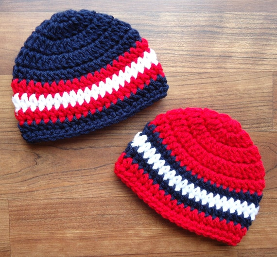 Crocheted Baby Boy/Boy Twin Hat Set ~ Dark Navy Blue, Red, & White Twin Hat Set ~ Baby Shower Gift ~ Newborn to 5T  ~ MADE TO ORDER