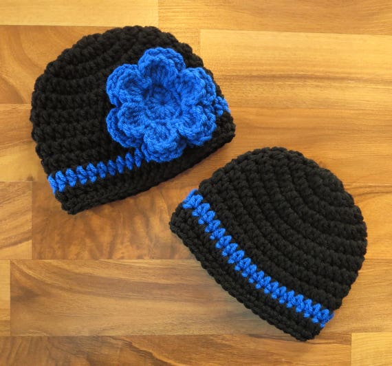 Crocheted Baby Boy/Girl Twin Hat Set ~ Black & Royal Blue ~ Thin Blue Line ~ Baby Shower Gift ~ Photo Prop ~ Newborn to 5T ~ MADE to ORDER