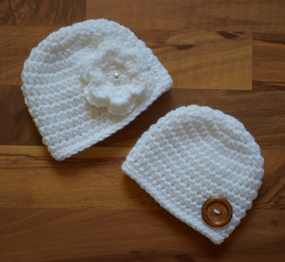 Crocheted Baby Boy/Girl Twin Hat Set ~ Classic White ~ Wooden Button ~ Christening Hats ~ Baby Shower Gift ~Newborn to 5T ~ MADE TO ORDER
