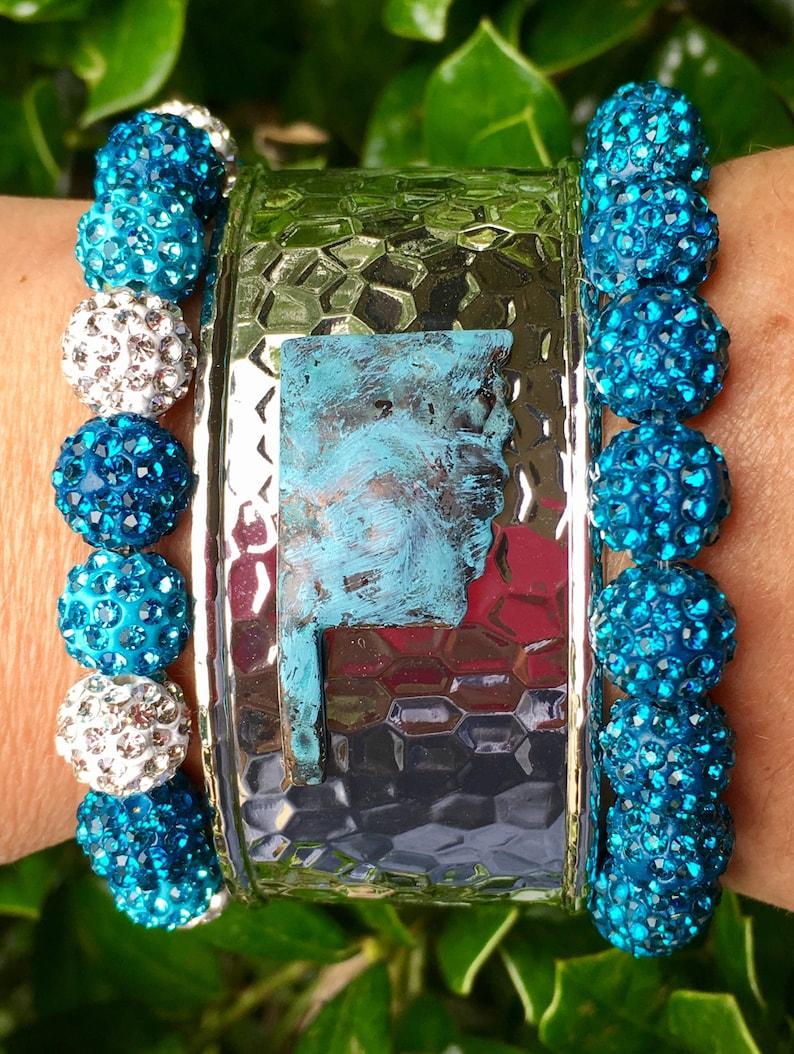 Stainless Steel Womens Ladies Bracelet Oklahoma Silver Turquoise Cuff Bracelet