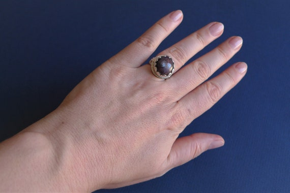Silver ring with ruby from India - image 5