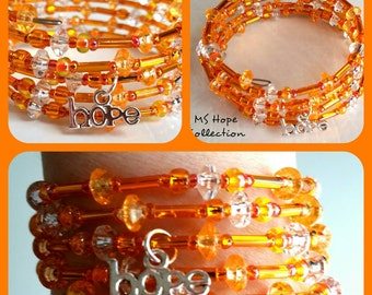 Memory Wire, Multiple Sclerosis, Jewelry For Charity, MS Hope Collection, Memory Wire Bracelet, Orange Memory Wire Bracelet (OneOfAKind)