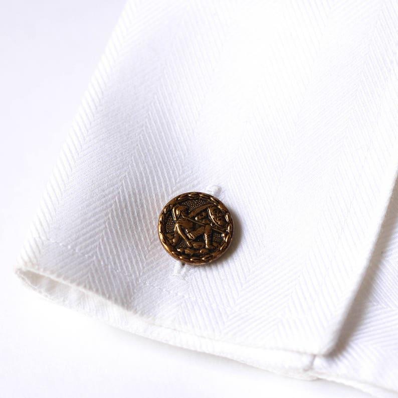 Greek Hellenic era replica coin cufflink  gold vintage cufflinks  Christmas Holiday