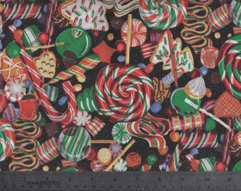 Christmas Candy Holiday Sweets Cotton Fabric, 2/3 Yard #893