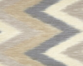Chevron IKAT Cotton Fabric, Natural  By the Yard #246-1