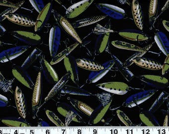 Lure of the Bass Fishing Lures  Cotton Fabric  by Sold by the Yard #260