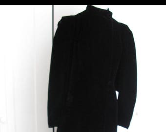 Vintage Black Velvet Long Opera Coat - Mutton Sleeve Maxi Coat Size Small/Medium