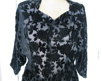 e4b2c3d98992c SALE - Vintage 80 s Does 40 s Black Sheer Cut Out Velvet Floral Brocade  Dress Sz Medium