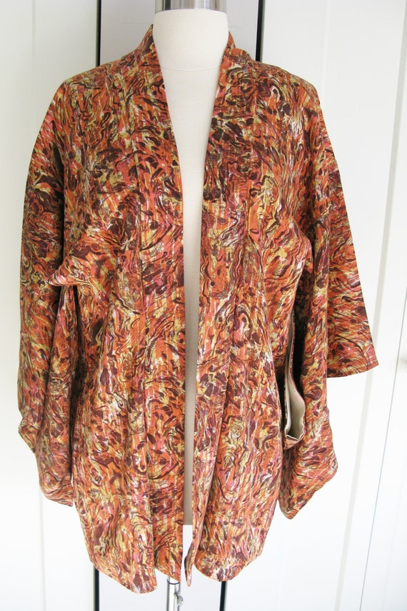 Vintage Kimono Jacket -Salmon Pink /Brown Abstract