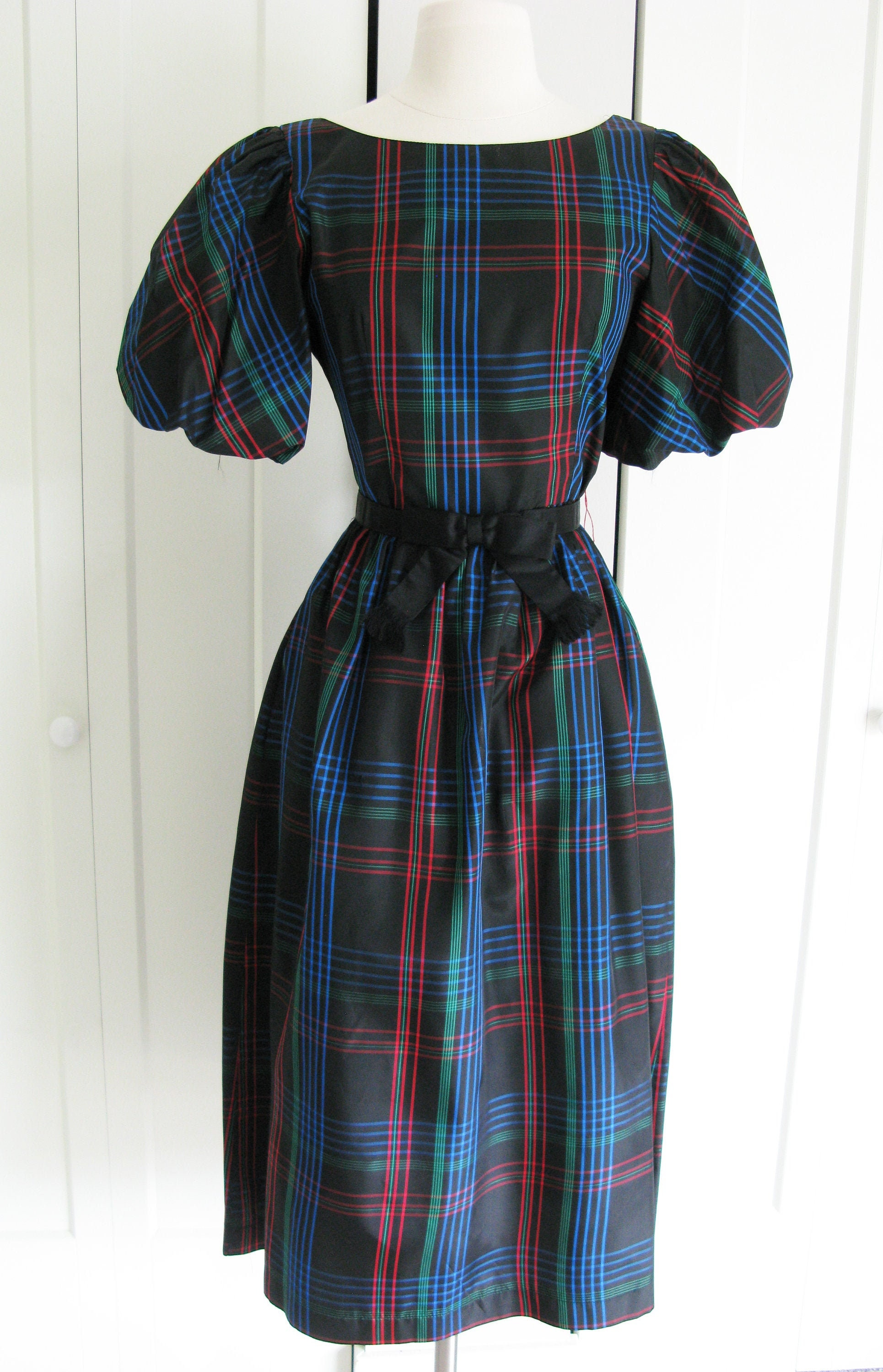 80s Dresses | Casual to Party Dresses Lanz Vintage 1980s Black Plaid Taffeta Party Dress Puffy Short Sleeves  Size SM $22.00 AT vintagedancer.com