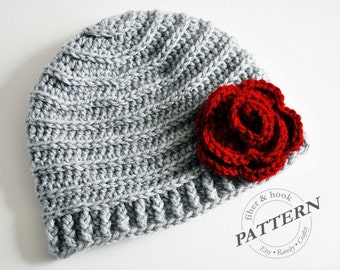 CROCHET PATTERN Crochet Ribbed Beanie Pattern Beanie  891d8f48f02