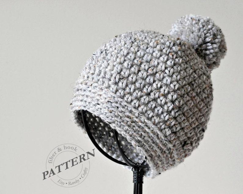 Crochet Pattern Pom Pom Beanie Crochet Pom Pom Hat Easy Etsy