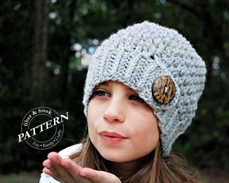 3ff89f18977 CROCHET PATTERN Crochet Button Tab Beanie Pattern Slouchy