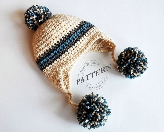 CROCHET PATTERN Pom-Pom Earflap Beanie Crochet Pom-Pom Hat | Etsy