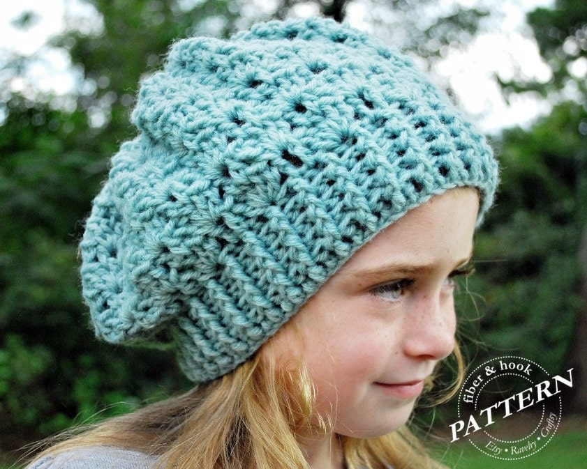 025910a28 CROCHET PATTERN - Crochet Slouchy Hat Pattern, Slouchy Beanie Pattern, Lace  Slouchy, Slouch Hat (Toddler, Child, Adult Sizes) pdf #007H Easy