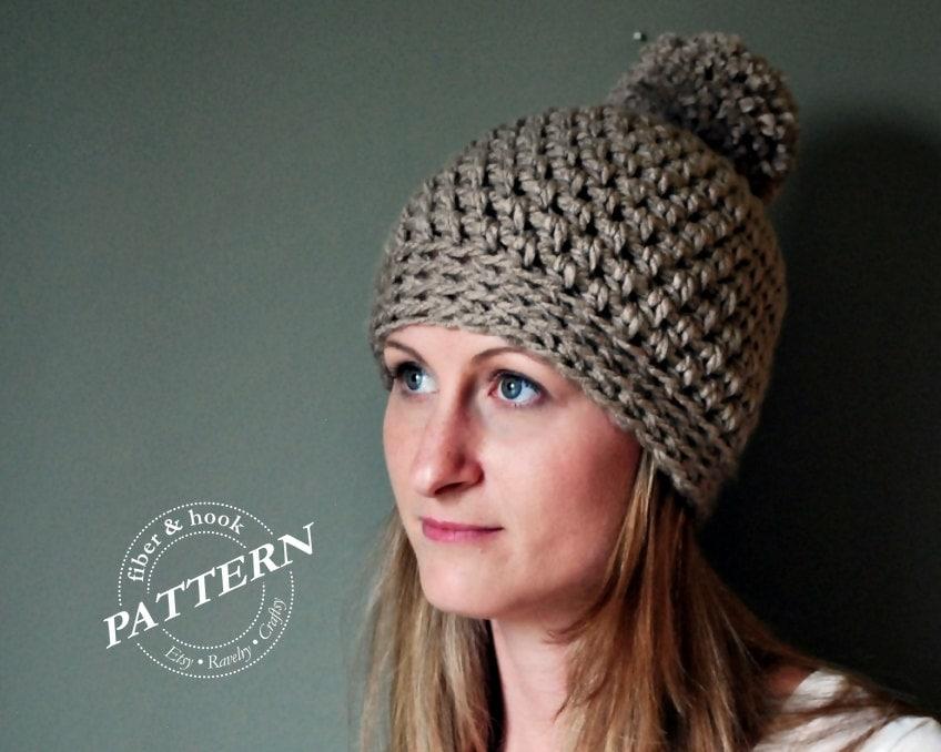 Crochet Pattern Chunky Pom Pom Beanie Crochet Pattern Etsy