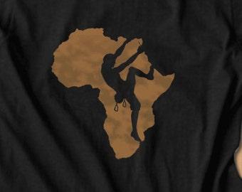 Climbing Africa T-Shirt Belay Approach Tshirt Bouldering T shirt Rock Climbing Tee Climbing Shirt handmade custom made my state shirt
