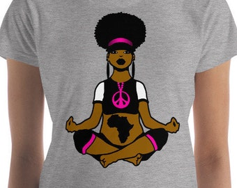 Black Girl Yoga T shirt tops and tees t-shirt Women's short sleeve t-shirt yogi