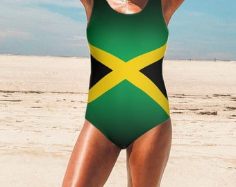 558b9718645d9 Jamaican Flag Swimsuit Jamaica Clothing Jamaica one piece swimsuit Jamaican  flag print swimsuit Jamaica bathing suit