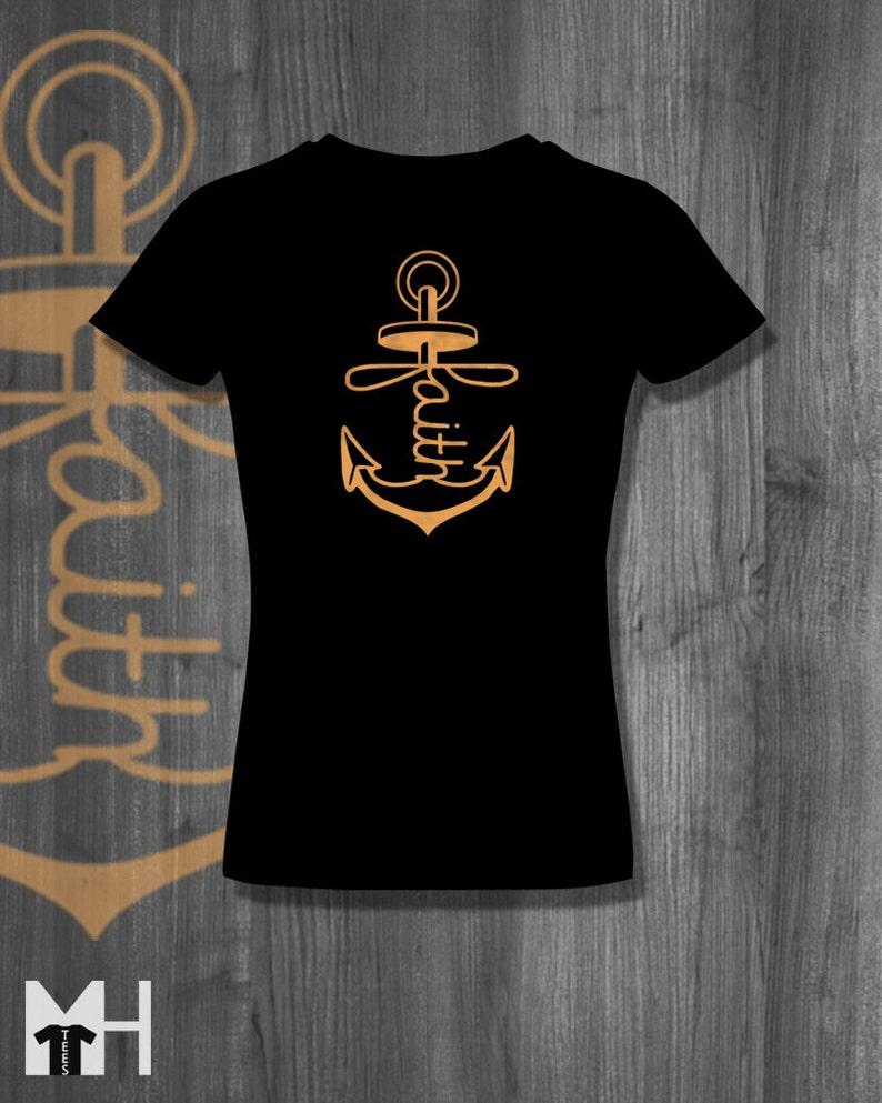 34fb8f965f9 T shirt Anchored Faith Love T-Shirt tops Plus Size Clothing