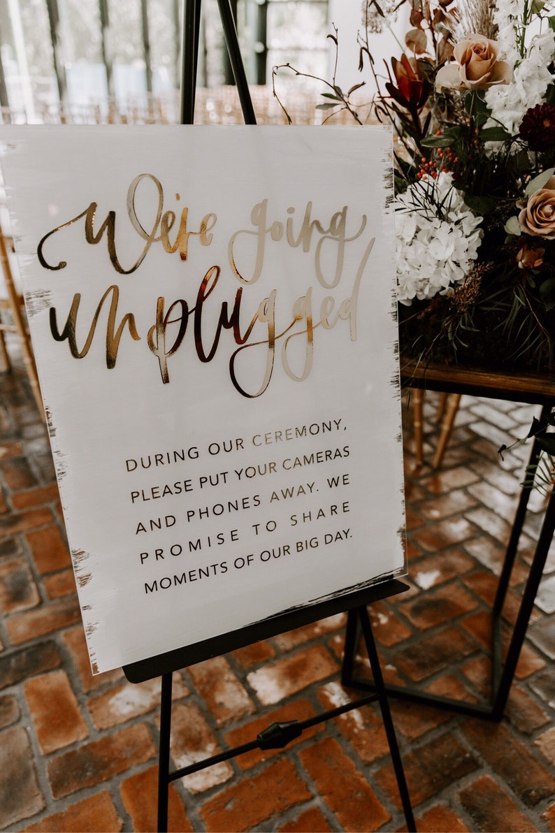 acrylic unplugged ceremony sign with gold foiled hand image 0