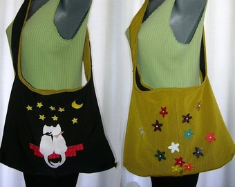 Black and yellow shoulder bag decorated with cats and small flowers