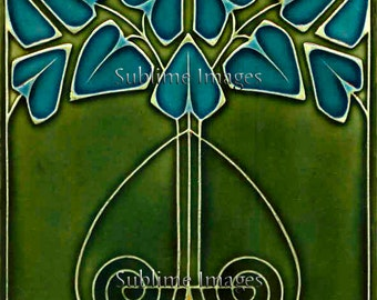 AN034 - Gloss Ceramic or Glass Tile - Vintage Art Nouveau Reproduction Tile (Green with Blue Flowers) - Various Sizes