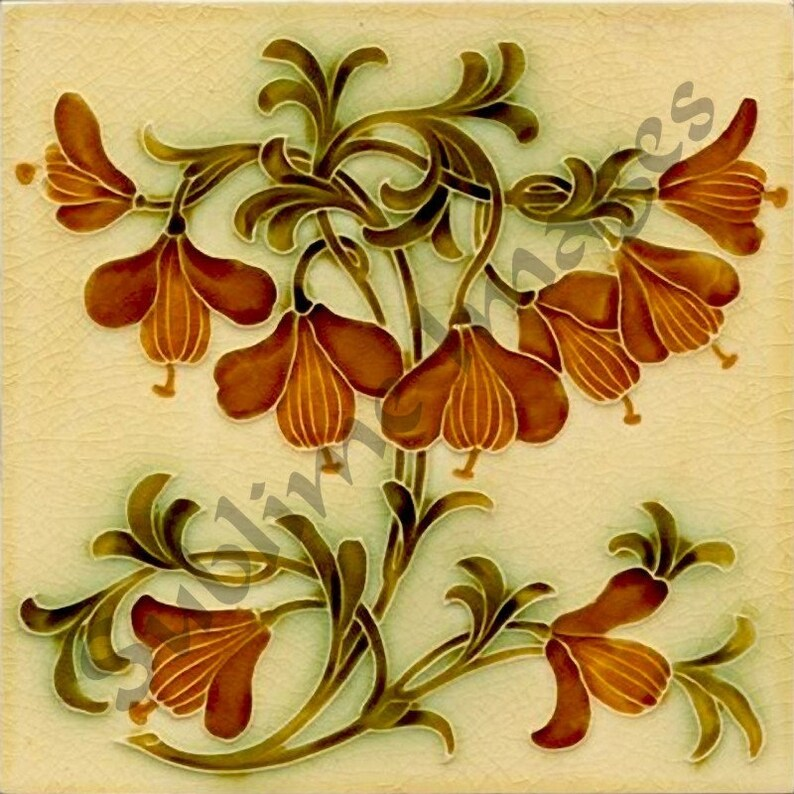 AN086 - Gloss Ceramic Tile - Vintage Art Nouveau Reproduction Tile -  Various Sizes