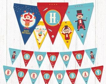 CIRCUS Printable Happy Birthday Banner