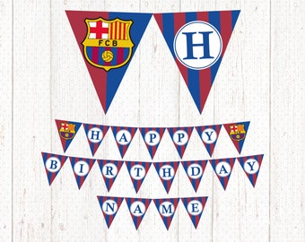 d8876b1c8b996 BARCELONA Happy Birthday Football Printable Banner Party - Banderin  Barcelona Feliz Cumpleaños Imprimible -