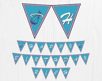 Miami Heat Printable Banner Alternative color. Miami Heat Happy birthday banner