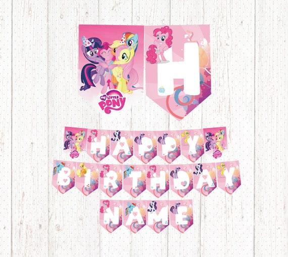 My Little Pony Happy Birthday Printable Banner Banderin Mi Pequeño Pony Cumpleaños