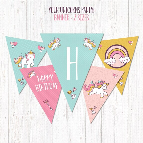 picture about Printable Happy Birthday Banner known as UNICORN Printable Content Birthday Banner Bash - Banderin Cumpleaños Unicornio -