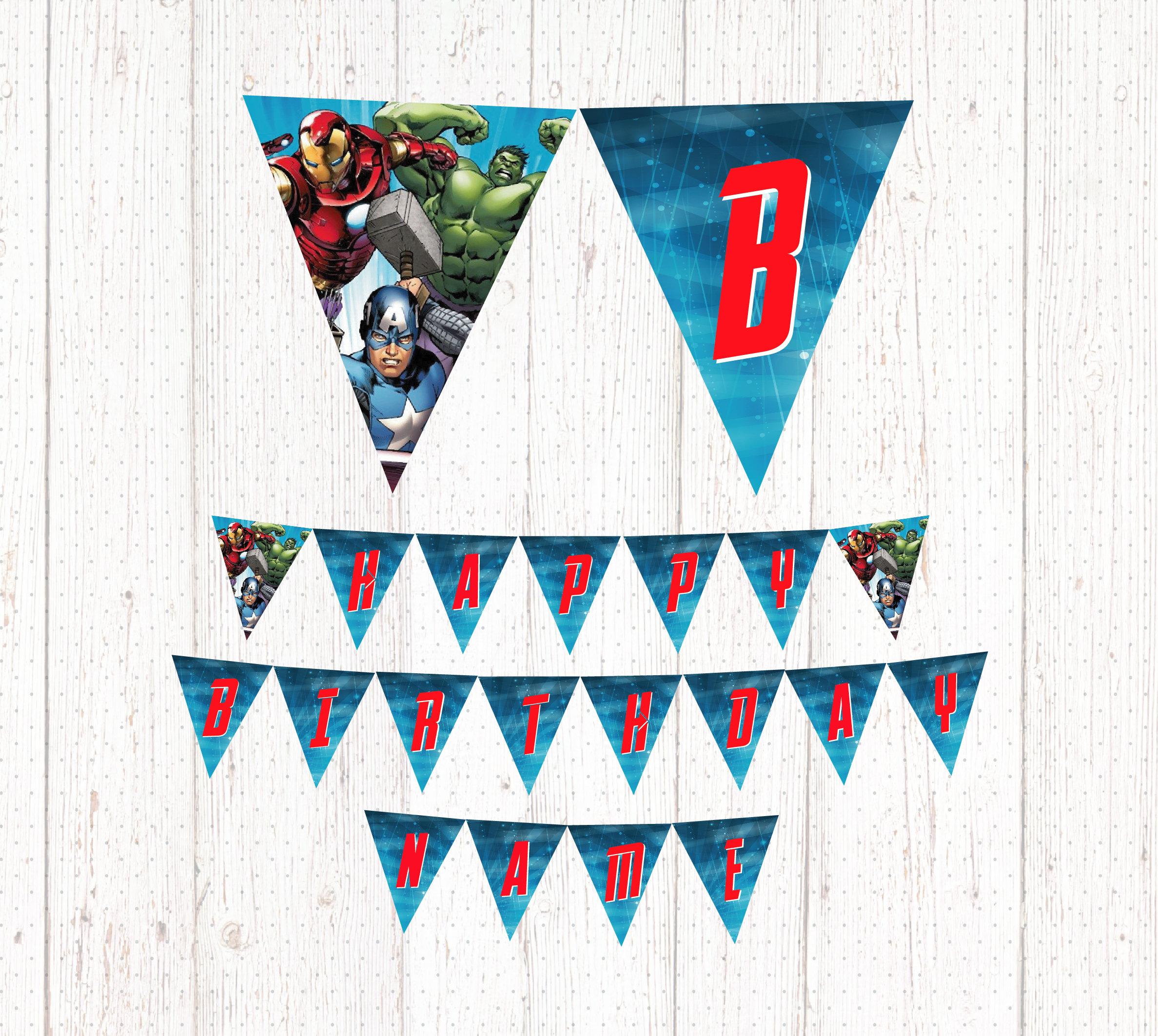 Avengers Printable Birthday Banner Banderín Cumpleaños | Etsy