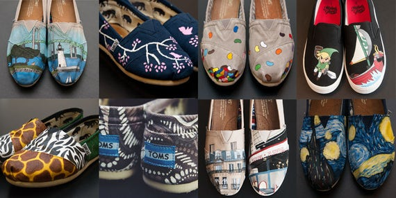 Custom Painted Toms Hand Painted Shoes Acrylic Paint One Etsy