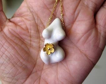 Classic White n Golden Flower Venus Goddess Necklace