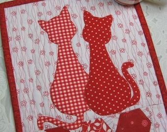 Calico  Cats Mug Rug Pattern