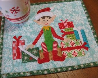 Elf Christmas Mug Rug Pattern PDF