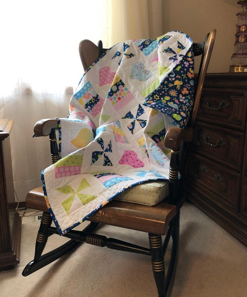 Hearts and Pinwheels Baby Quilt Pattern