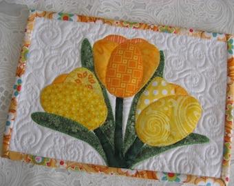 Spring Tulips Mug Rug Pattern