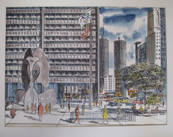 ELICH Signed CHICAGO Picasso WATERCOLOR on watercolor paper Chicago Daley Plaza by Chicago watercolorist Elich