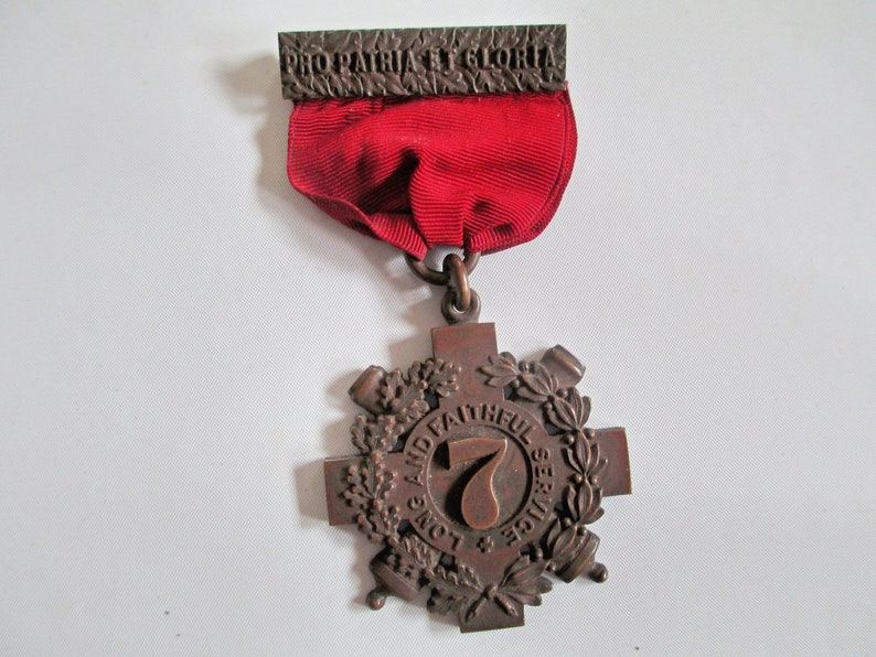 TIFFANY MILITARY MEDAL, 1880s New York 7th Regiment, Long and Faithful  Service Medal, State Militia Vintage inscribed