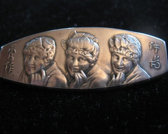 Sale!STERLING SILVER Gilbert & Sullivan's MIKADO Brooch with 3 Japanese Maids marked with four leaf clover by Howard Sterling Co.  1885