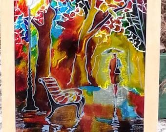 Ogovenezia painting on glass cm 20x30h